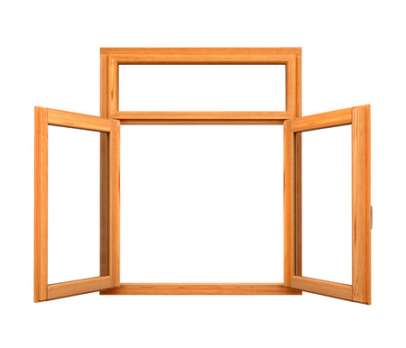 inwards: Open wooden double window opened isolated on white background Stock Photo