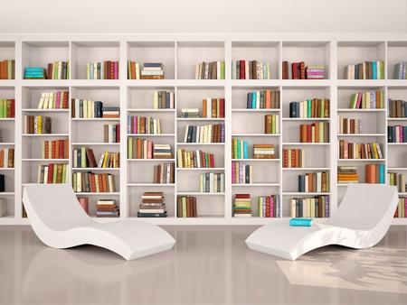 3d illustratie van moderne minimalistische bibliotheek voor otdha