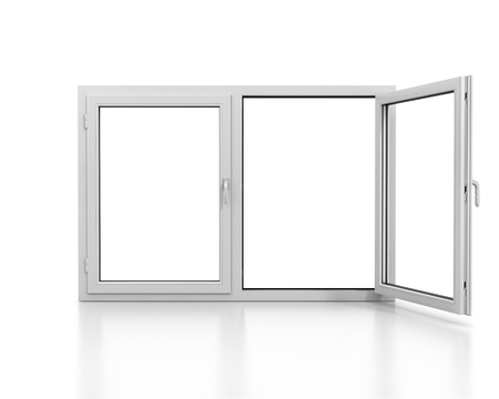 double glazing: White plastic double door window isolated on white background