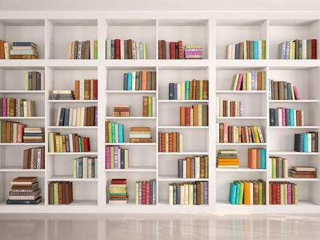 3d illustratie van Witte boekenkasten met diverse kleurrijke boeken Stockfoto