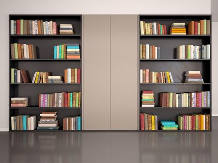 3d illustratie van grijze muur met boekenkast