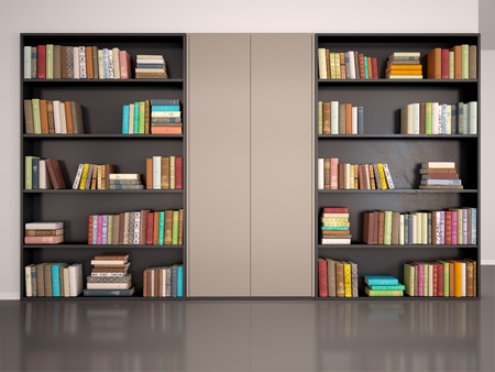 3d illustration of gray wall with bookcase