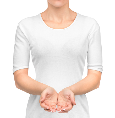 girl in white t-shirt with open hands isolated on white background