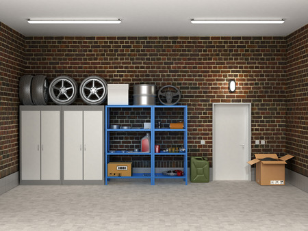storage boxes: The interior suburban garage with wheels and boxes.