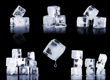 liquid reflect: set ice on a black background