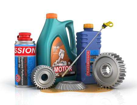 Concept van auto-service. Blikken van motorolie en transmissieolie met versnellingen en oliepeilstok.