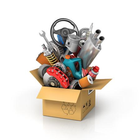 mecanica industrial: piezas de automóviles en la caja de cartón. tienda de la cesta de la automoción. tienda de auto partes. Foto de archivo