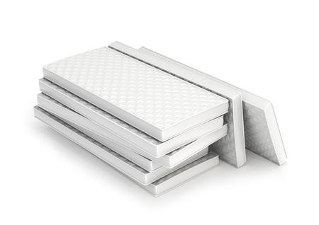mattress: Stack sleeping soft mattress isolated on white background Stock Photo