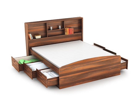 bed frame: wooden bed with open drawer