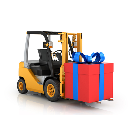 Forklift with gift box on a white background. Stok Fotoğraf