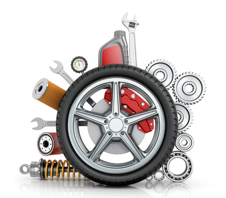 spare part: The concept of truck wheels with details on a white background.
