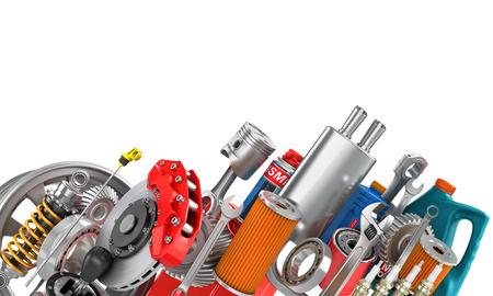 auto service: Border of auto parts isolated on white. Auto service.
