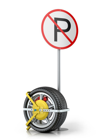 infringement: Yellow clip wheels with road sign on a white background.