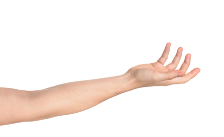 publicize: Outstretched hand isolated on white background Stock Photo