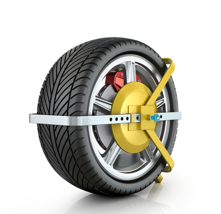 infringement: Yellow wheel clamp on a white background.