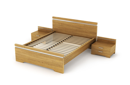 bedside tables: wooden bed with bedside tables on either side