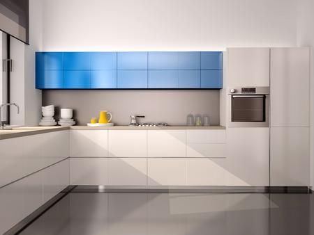 3D-Darstellung des Inneren der modernen Küche in weiß, blau, grau Tönen