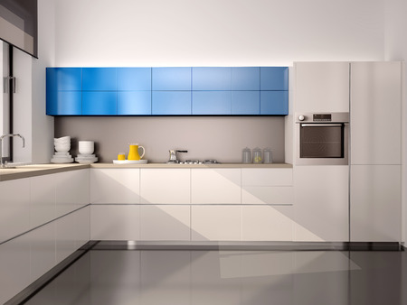 3d illustration of interior of modern kitchen in white blue gray tones