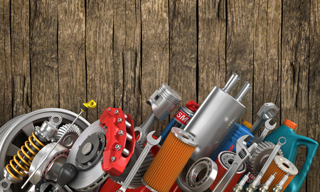 Set of auto parts on the old wood background. Zdjęcie Seryjne - 53058601