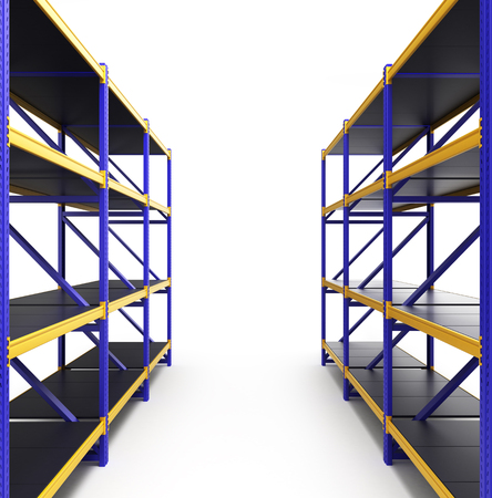 shelving: shelving gravity for pallets isolated on white Stock Photo