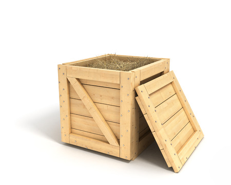 closed wooden box isolated