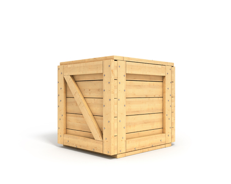 boxed: closed wooden box isolated on white background Stock Photo