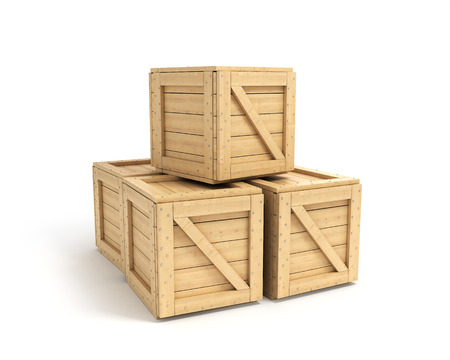 boxed: wooden boxes isolated on white