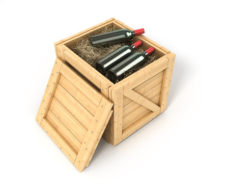 boxed: Open wooden box with bottles of wine inside isolated on white