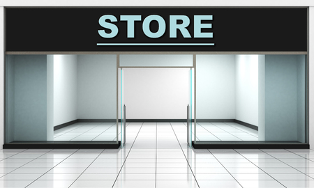 front of: Shop Front. Exterior horizontal windows empty for store product presentation or design.
