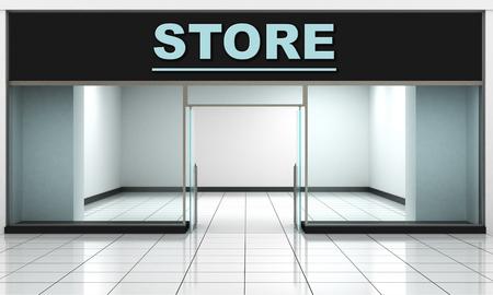 Winkel voorkant. Buitenkant horizontale ramen lege winkel voor productpresentatie of ontwerp.