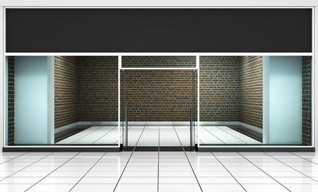 お店の前。外装水平連続窓空製品のプレゼンテーションやデザインのために。