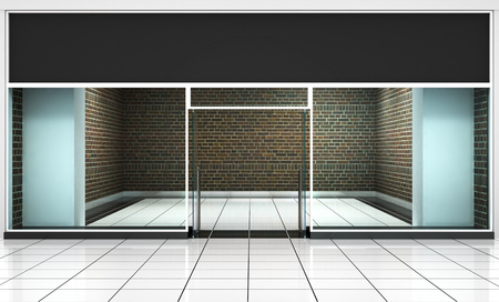 Shop Front. Exterior horizontal windows empty for your product presentation or design.