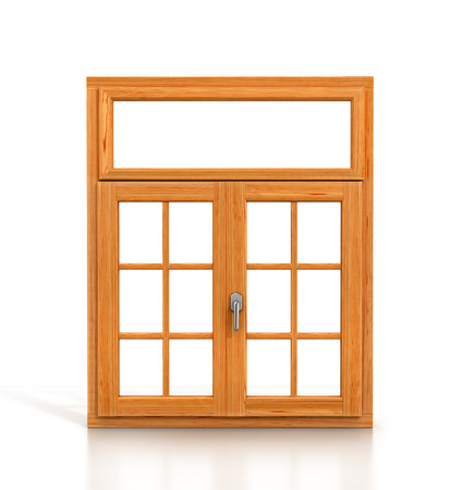 rafter: wooden window isolated on white background