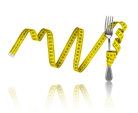 constrain: Diet concept, fork and measuring tape on an isolated white background