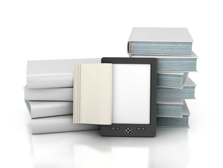 reader: E-book reader with stack of the book on a white background. Stock Photo