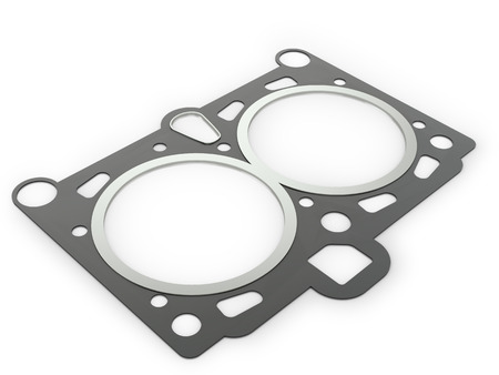 gasket: Gasket car engine cylinder head, on a white background. Stock Photo