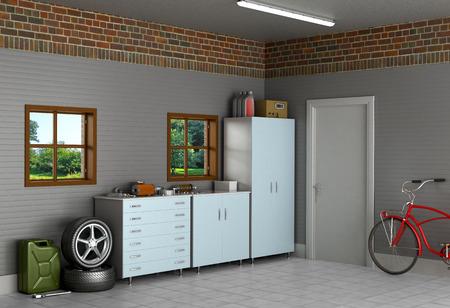 Het interieur voorsteden garage met auto-onderdelen. Stockfoto