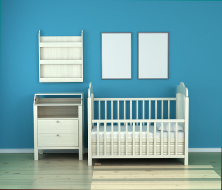 carpet clean: wooden baby bed in the room against the wall