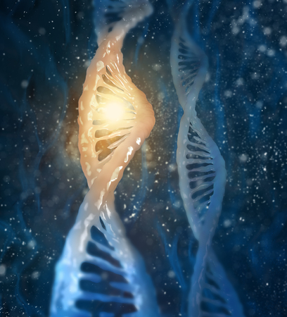 high scale magnification: Concept of biochemistry with dna molecule on blue background
