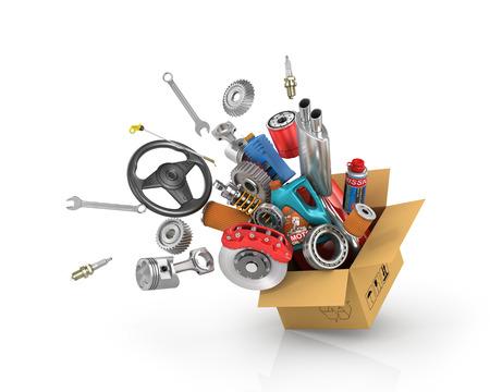 Auto-onderdelen in de kaartdoos. Automotive winkel voor manden. Auto-onderdelen opslaan. Autoparts vliegen.