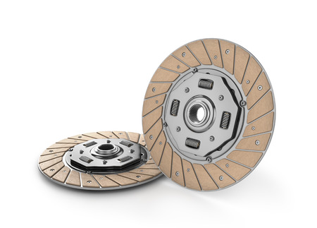 clutch cover: Clutch disc car on white background (done in 3d) Stock Photo