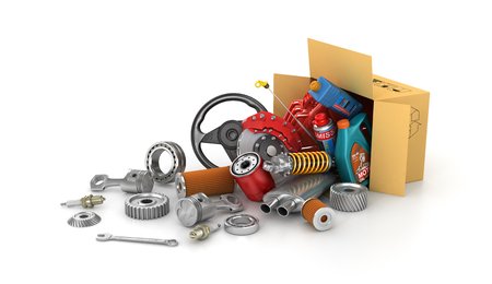 motor mechanic: Auto parts in the cardboard boxes. Automotive basket shop. Auto parts store. Stock Photo