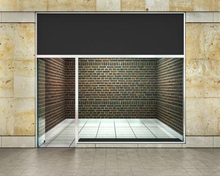 Vitrine. fenêtres extérieures horizontales vident pour votre magasin présentation du produit ou de la conception.