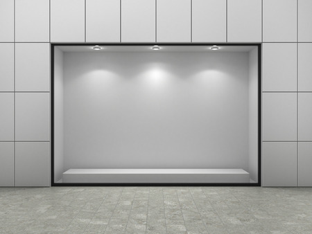 vitrine: Empty ftorefront of shop. Stock Photo