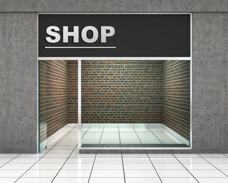 forepart: Shop Front. Exterior horizontal windows empty for store product presentation or design.