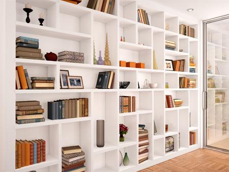 Ilustración 3D de estantes blancos en el interior con varios objetos