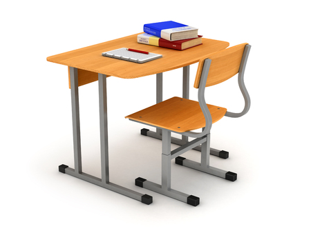 comfort classroom: School desk and chair with stack of book and copybook with pencil  isolated Stock Photo