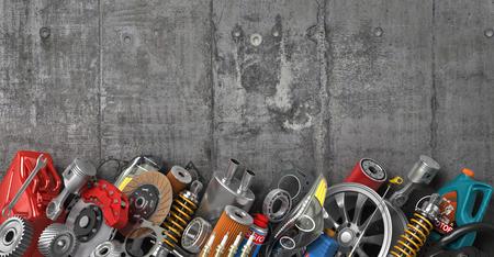 Border of auto parts on concrete wall.