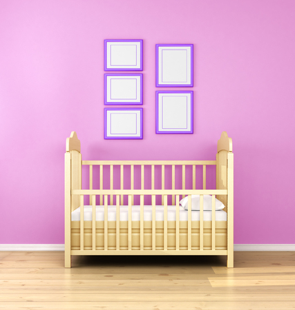 nursery room: Interior of nursery. Frontal view. 3d render.