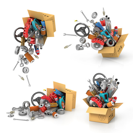 turbine engine: Set it auto parts in the cardboard boxes.